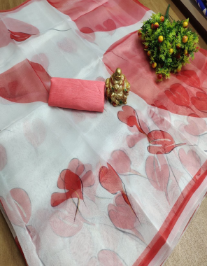 white  organza  fabric printed work wedding
