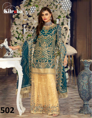 green top  - georgette   bottom + inner - santoon   dupatta - super net    bottom stitched length 42 fit upto 46   top semi stitch   size - fit up to 56 length - 44  fabric embroidery sequence  work festive