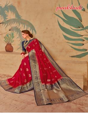 red pure silk fabric weaving jacqaurd  work ethnic