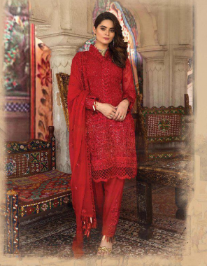 red top - georgette | bottom + inner - santoon | dupatta - super net |type - semi stitch | size fit up to 58 | length - 44 fabric embroidery sequence  work ethnic