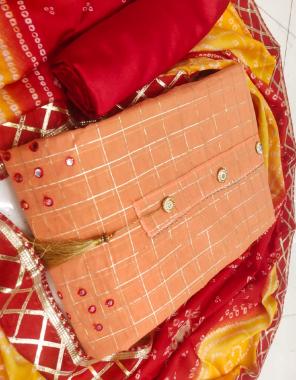 orange top chanderi chex   bottom + inner -santoon   dupatta - bandhani gottapati less fabric mirror gotta patti work ethnic