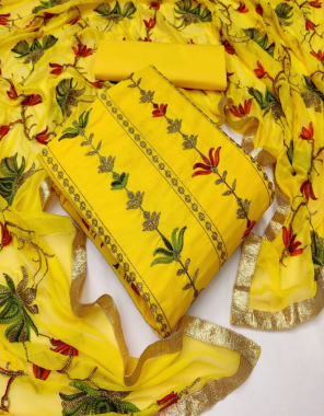 yellow top - pc cotton | bottom - heavy indo 2.00 m | dupatta - chinon work fabric embroidery work casual