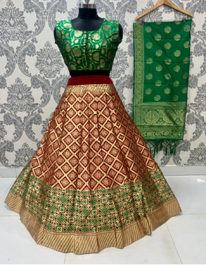 marron lehenga - brocade lehenga with cancan inner semi stitch upto 42 length 42 | blouse - pure silk full stitch up to 42 | dupatta - pure banarasi silk fabric jacqaurd weaving work ethnic