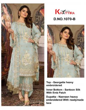 light rama top - georgette heavy embroidery | bottom + inner - santoon silk | dupatta - nazmeen fabric embroidery work casual