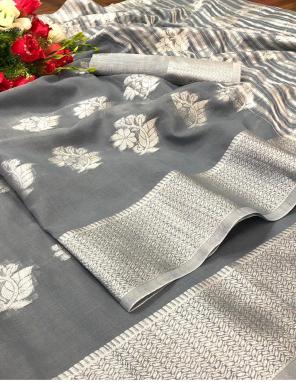 grey linen silk fabric weaving work running