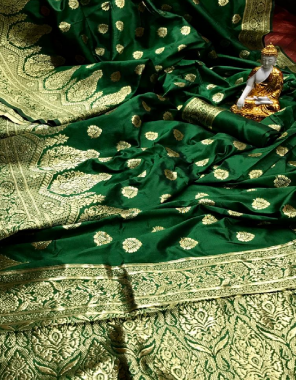 green super soft banarasi lichi silk fabric weaving jacqaurd  work running