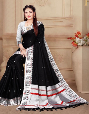 black soft lichi silk fabric weaving jacqaurd  work party wear