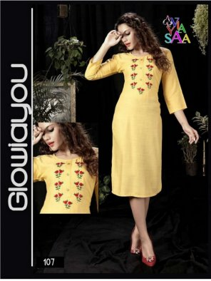 lemon yellow rayon fabric emboidery work casual