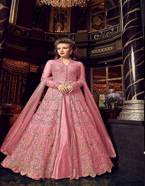 light pink top - net with embroidery muti work + sequence work with stone work and back side work   sleeve - net with embroidery work   inner- santoon   bottom - banglori silk   dupatta - net   length - max up to 54   size -max up to 44   type - semi stitch fabric embroidery stone sequence work wedding