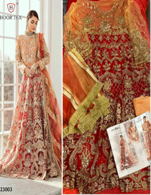 red top - heavy net with embroidery stone   bottom + inner -santoon   dupatta - net   size - 46(3xl) fabric embroidery stone sequence work ethnic