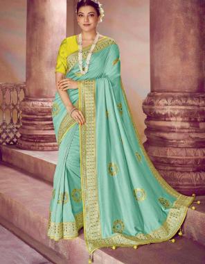 light rama saree - dolla silk | blouse - banglori fabric embroidery work running
