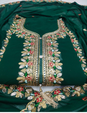 green top - fox georgette 2.20m | bottom 2.10m + inner 1.50 - santoon | dupatta 2.10m -georgette fabric embroidery work wedding