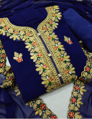 blue top - fox georgette 2.20m | bottom 2.10m + inner 1.50 - santoon | dupatta 2.10m -georgette fabric embroidery work festive