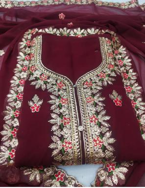 marron top - fox georgette 2.20m | bottom 2.10m + inner 1.50 - santoon | dupatta 2.10m -georgette fabric embroidery work wedding