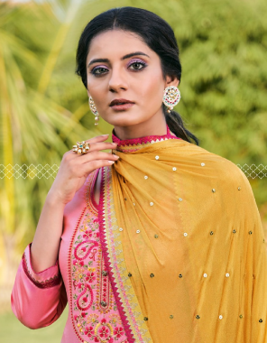 pink top -jam silk with embroidery work   bottom - cotton soild   dupatta -chinon seq work with four side less fabric embroidery work daliy wear