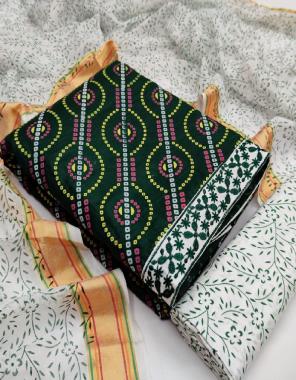 green top - pure cotton bandhani 2.25m | bottom - pure cotton 2.25m | dupatta - cotton printed 2.25m fabric bandhani printed work wedding