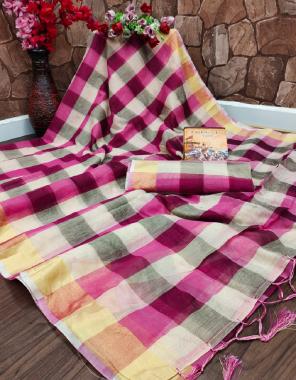 pink soft cotton silk fabric checks work running