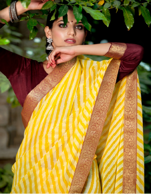 yellow georgette  fabric sequence foil work wedding