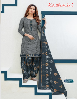 grey top - cotton print 2m |bottom - cotton print 2m |dupatta - cotton print 2 fabric printed work festive