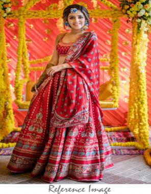 red  vaishali silk fabric digital  print embroidery  work festive