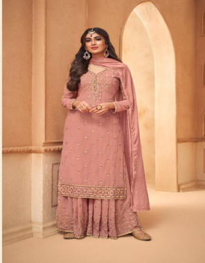 light peach top - heavy georgette   sleeve - heavy georgette   bottom - heavy georgette with santoon inner fabric embroidery sequnece work casual