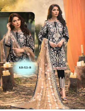 black top - heavy fox georgette with heavy embroidery work |bottom - santoon with pess  work |dupatta - net with embroidery work | length -max up to 48 | type - semi stitch fabric embroidery work festive