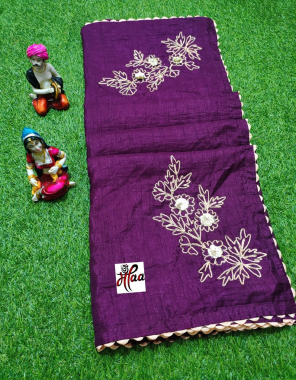 purple fabric - heavy dola silk with fancy work | blouse - banglori fabric embroidery work ethnic