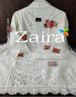 white top - pure cotton chikankari designer semi stitch beautiful patch embroidery work bust 50 length - 45 | bottom - pure cotton 2.30m | dupatta - net | type - semi stitch  fabric embroidery chikankari work festive