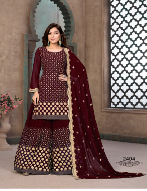 coffee top -faux georgette | inner - santoon | bottom - faux georgette sharara palazzo | dupatta - faux georgette fabric embroidery work casual