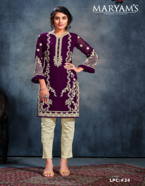 wine top - pure georgette | bottom  - pure lawn strachable  fabric embroidery work wedding