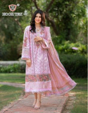 pink top -lawn cotton | bottom - cotton | dupatta -nazmeen | size - 56(8xl) fabric embroidery work ethnic