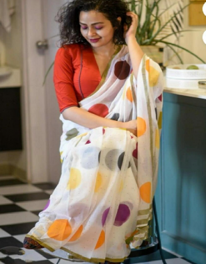 white fabric - chanderi linen digital print | blouse- banglori satin fabric digital print work casual