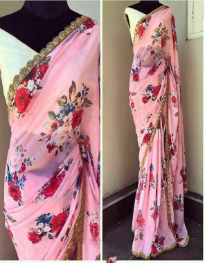 light pink saree -royal georgette   blouse -banglori silk fabric printed sequence  work running