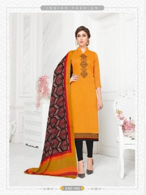 poppy orange modal fabric emboidery work casual