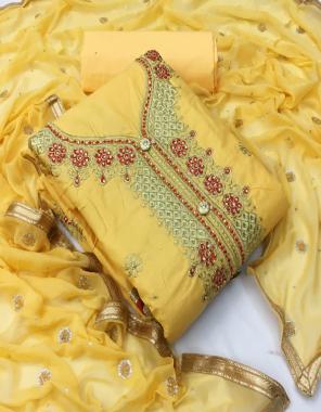 yellow top - pc cotton | bottom - pc cotton 2.60m | dupatta - nazmin print  fabric embroidery  work running