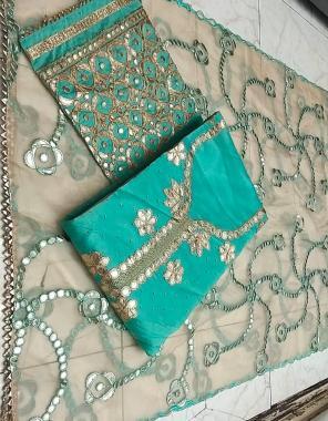 rama  top - modal silk | bottom + inner - cotton | dupatta - heavy gotta work  fabric gotta  work festive
