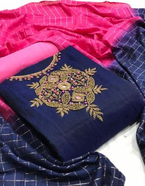blue top - modal chanderi silk   bottom + inner - santoon   dupatta - cotton silk  fabric handwork work casual