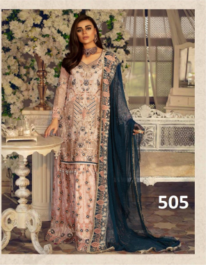 light pink top - georgette with embroidery | bottom + inner - santoon | dupatta - net with embroidery work fabric embroidery work ethnic