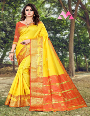 yellow  kanjivaram soft silk fabric weaving jacqaurd  work wedding