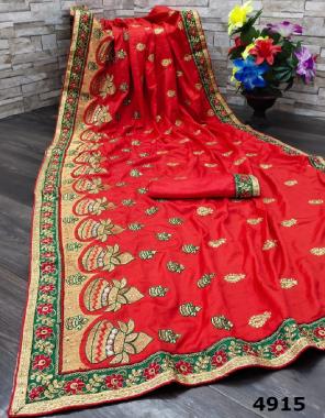 red saree -sana silk | blouse - running fabric embroidery stone  work running