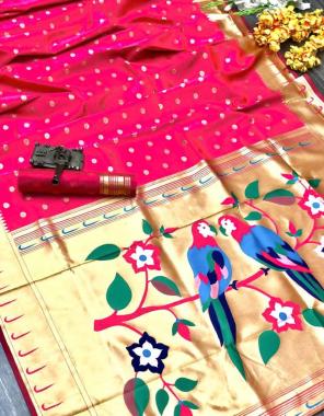 pink soft paithani silk fabric weaving jacqaurd  work casual