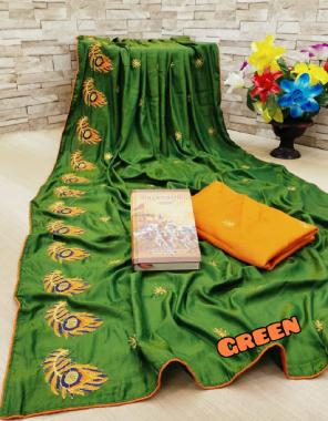 green saree - pure sana silk |blouse - banglori silk fabric embroidery work ethnic