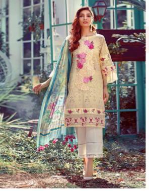 cream  top -pure cotton | bottom- semi lawn | dupatta - chiffon | type -semi stitch | size -fit upto 58  fabric embroidery printed work ethnic