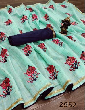 sky saree - linen cotton   blouse -banglori silk fabric embroidery work ethnic