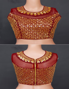 marron fantam silk | sleeve inside attached  fabric sequence embroidery work festive