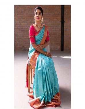 sky soft lichi silk fabric weaving jacqaurd  work party wear