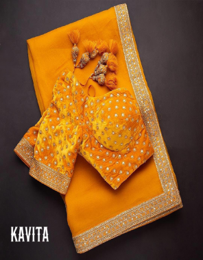 yellow saree - pureorganza | blouse - velvet gold border  fabric embroidery sequence fancy  work wedding