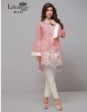 pink top - fox georgette | inner - santoon |pant  - cotton strachable  fabric fancy work running