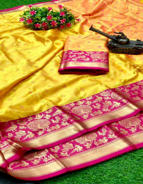 yellow soft banarasi silk embossed weaving rich pallu fabric weaving  work running