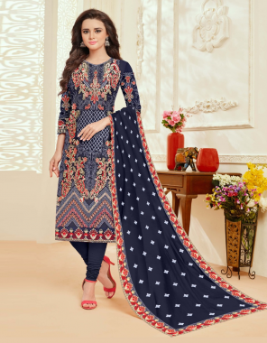 blue top -georgette with embroidery work | bottom + inner - santoon |dupatta - nazneen with embroidery work |size - 54 (7xl) | type - semi stitch fabric embroidery work ethnic
